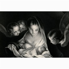 Nativity Scene Birth Of Jesus With Virgin Mary And Angels Black And White Litograph Collage Prints