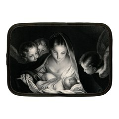 Nativity Scene Birth Of Jesus With Virgin Mary And Angels Black And White Litograph Netbook Case (medium)  by yoursparklingshop