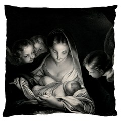 Nativity Scene Birth Of Jesus With Virgin Mary And Angels Black And White Litograph Large Cushion Case (two Sides) by yoursparklingshop