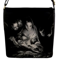Nativity Scene Birth Of Jesus With Virgin Mary And Angels Black And White Litograph Flap Messenger Bag (s) by yoursparklingshop