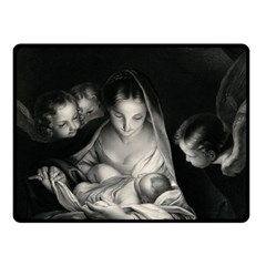 Nativity Scene Birth Of Jesus With Virgin Mary And Angels Black And White Litograph Double Sided Fleece Blanket (small)  by yoursparklingshop