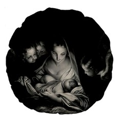 Nativity Scene Birth Of Jesus With Virgin Mary And Angels Black And White Litograph Large 18  Premium Flano Round Cushions by yoursparklingshop