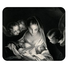 Nativity Scene Birth Of Jesus With Virgin Mary And Angels Black And White Litograph Double Sided Flano Blanket (small)  by yoursparklingshop