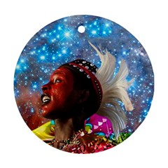 African Star Dreamer Round Ornament (two Sides)  by icarusismartdesigns