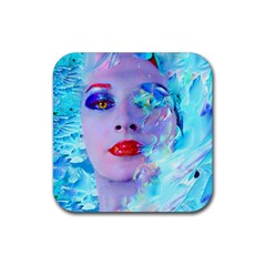 Swimming Into The Blue Rubber Square Coaster (4 Pack)  by icarusismartdesigns