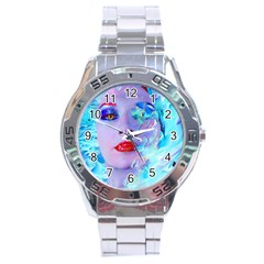 Swimming Into The Blue Stainless Steel Analogue Watch by icarusismartdesigns