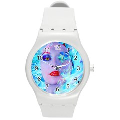 Swimming Into The Blue Round Plastic Sport Watch (m)