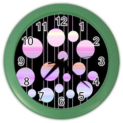 Pink Elegance  Color Wall Clocks by Valentinaart
