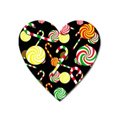 Xmas Candies  Heart Magnet by Valentinaart