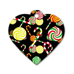 Xmas Candies  Dog Tag Heart (two Sides) by Valentinaart