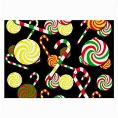 Xmas Candies  Large Glasses Cloth (2 Side) by Valentinaart