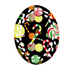 Xmas Candies  Ornament (oval Filigree)  by Valentinaart
