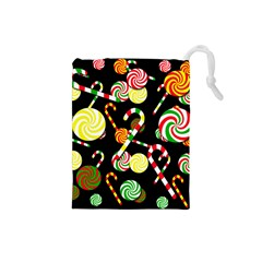 Xmas Candies  Drawstring Pouches (small)  by Valentinaart
