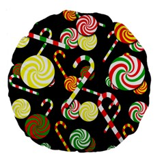 Xmas Candies  Large 18  Premium Flano Round Cushions by Valentinaart