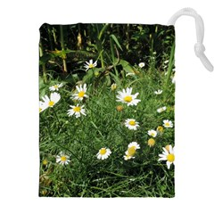 White Daisy Flowers Drawstring Pouches (xxl) by picsaspassion