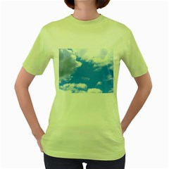 Clouds And Blue Sky Women s Green T Shirt by picsaspassion