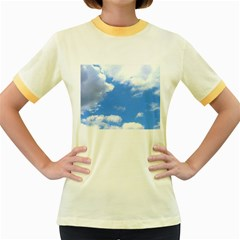 Clouds And Blue Sky Women s Fitted Ringer T Shirts by picsaspassion