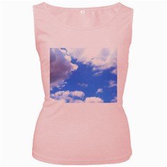 Clouds And Blue Sky Women s Pink Tank Top by picsaspassion