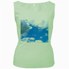 Clouds And Blue Sky Women s Green Tank Top by picsaspassion