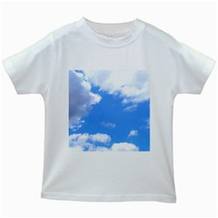 Clouds And Blue Sky Kids White T Shirts by picsaspassion
