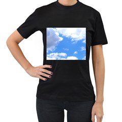 Clouds And Blue Sky Women s T Shirt (black) (two Sided) by picsaspassion