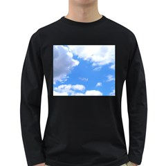Clouds And Blue Sky Long Sleeve Dark T Shirts by picsaspassion