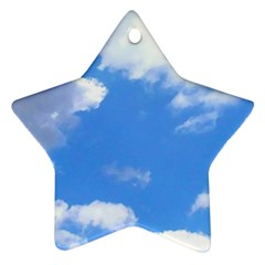 Clouds And Blue Sky Star Ornament (two Sides)  by picsaspassion