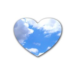 Clouds And Blue Sky Rubber Coaster (heart)  by picsaspassion