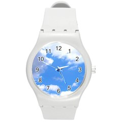 Clouds And Blue Sky Round Plastic Sport Watch (m) by picsaspassion