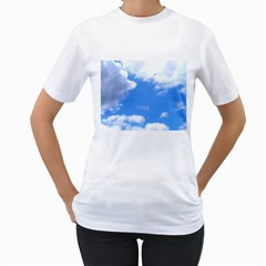 Clouds And Blue Sky Women s T Shirt (white)  by picsaspassion