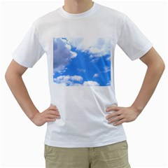 Clouds And Blue Sky Men s T Shirt (white)  by picsaspassion