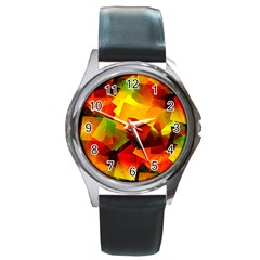 Indian Summer Cubes Round Metal Watch by designworld65