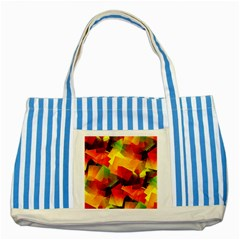 Indian Summer Cubes Striped Blue Tote Bag by designworld65
