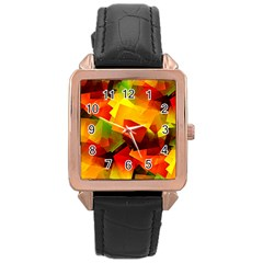 Indian Summer Cubes Rose Gold Leather Watch  by designworld65