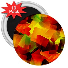Indian Summer Cubes 3  Magnets (10 Pack)  by designworld65