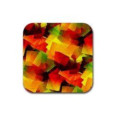 Indian Summer Cubes Rubber Square Coaster (4 Pack)