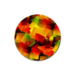 Indian Summer Cubes Rubber Coaster (round)  by designworld65