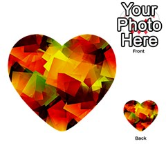 Indian Summer Cubes Multi Purpose Cards (heart)  by designworld65