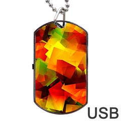 Indian Summer Cubes Dog Tag Usb Flash (two Sides)  by designworld65