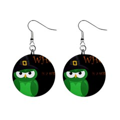 Who Is A Witch?   Green Mini Button Earrings by Valentinaart