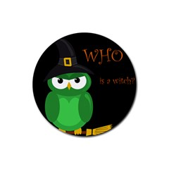 Who Is A Witch?   Green Rubber Coaster (round)  by Valentinaart