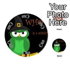 Who Is A Witch?   Green Playing Cards 54 (round)  by Valentinaart