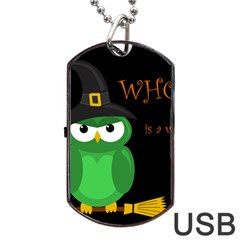 Who Is A Witch?   Green Dog Tag Usb Flash (one Side) by Valentinaart