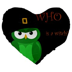 Who Is A Witch?   Green Large 19  Premium Heart Shape Cushions by Valentinaart