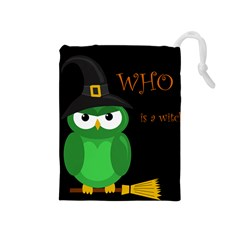 Who Is A Witch?   Green Drawstring Pouches (medium)  by Valentinaart