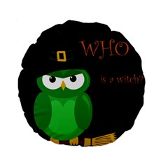 Who Is A Witch?   Green Standard 15  Premium Flano Round Cushions by Valentinaart