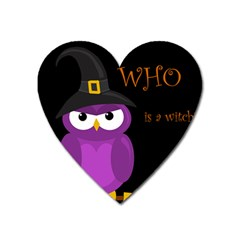 Who Is A Witch?   Purple Heart Magnet by Valentinaart