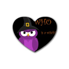 Who Is A Witch?   Purple Heart Coaster (4 Pack)  by Valentinaart