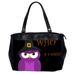 Who Is A Witch?   Purple Office Handbags (2 Sides)  by Valentinaart
