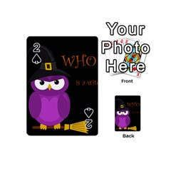 Who Is A Witch?   Purple Playing Cards 54 (mini)  by Valentinaart